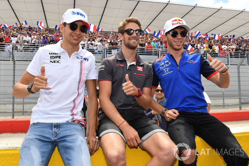 Esteban Ocon, Force India F1, Romain Grosjean, Haas F1 and Pierre Gasly, Scuderia Toro Rosso