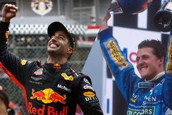 Daniel Ricciardo, Red Bull Racing and Michael Schumacher, Benetton