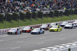 Kyle Busch, Joe Gibbs Racing, Toyota Camry M&M's Red White & Blue leads