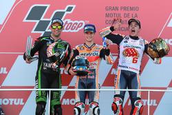 Podium: tweede Johann Zarco, Monster Yamaha Tech 3, winnaar Dani Pedrosa, Repsol Honda Team, derde Marc Marquez, Repsol Honda Team