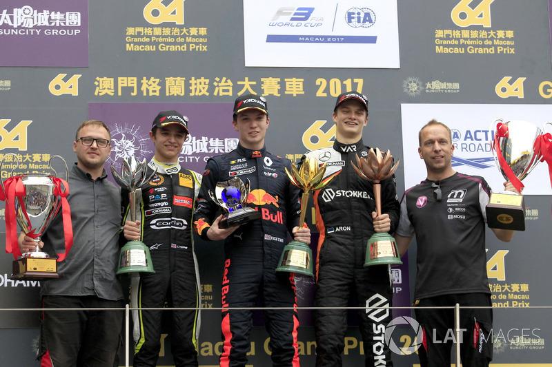 Podium: Race winner Dan Ticktum, Motopark with VEB, Dallara Volkswagen, second place Lando Norris, C