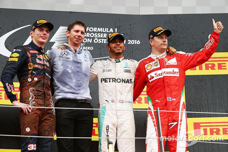 1. Lewis Hamilton, 2. Max Verstappen, 3. Kimi Räikkönen