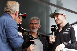(L to R): Johnny Herbert, Sky Sports F1 Presenter with Sergio Perez, Sahara Force India F1; Damon Hill, Sky Sports Presenter; and Nico Hulkenberg, Sahara Force India F1, at the Sahara Force India F1 Team Fan Zone at Woodlands Campsite