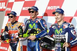 Polesitter Valentino Rossi, Yamaha Factory Racing, tweede plaats Marc Marquez, Repsol Honda Team, de