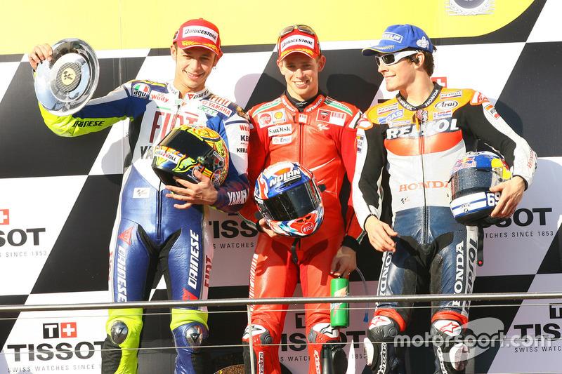 2008: 1. Casey Stoner, 2. Valentino Rossi, 3. Nicky Hayden
