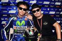 Valentino Rossi, Yamaha Factory Racing with Alessio Salucci and his Blues Brothers helmet