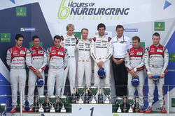 Podium: race winners Timo Bernhard, Mark Webber, Brendon Hartley, Porsche Team, second place Lucas di Grassi, Loic Duval, Oliver Jarvis, Audi Sport Team Joest, third place Marcel Fässler, Andre Lotterer, Audi Sport Team Joest
