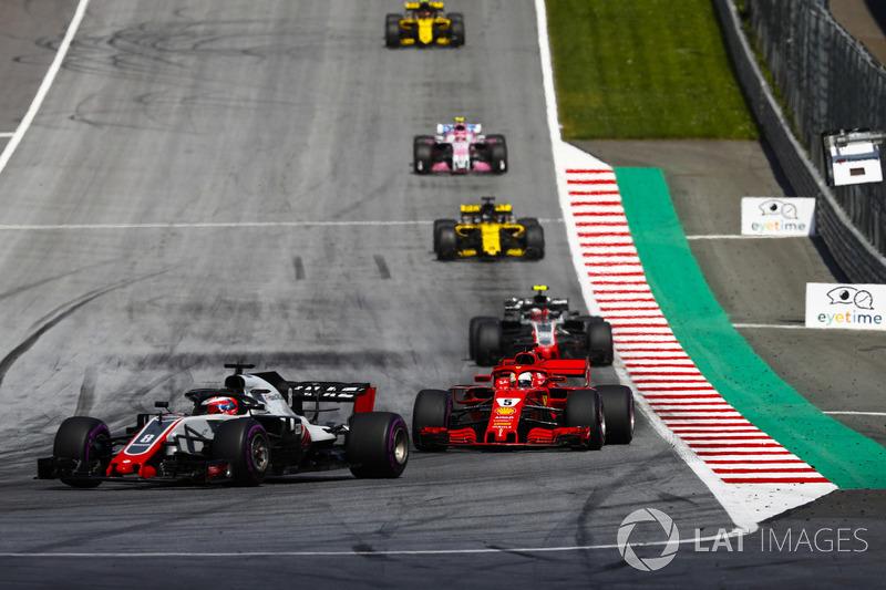 Romain Grosjean, Haas F1 Team VF-18, Sebastian Vettel, Ferrari SF71H, Kevin Magnussen, Haas F1 Team VF-18, Nico Hulkenberg, Renault Sport F1 Team R.S. 18