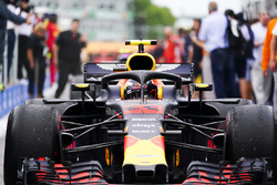 Max Verstappen, Red Bull Racing RB14, 3rd position, drives into Parc Ferme