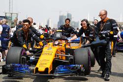 Stoffel Vandoorne, McLaren MCL33 Renault, llega a la parrilla