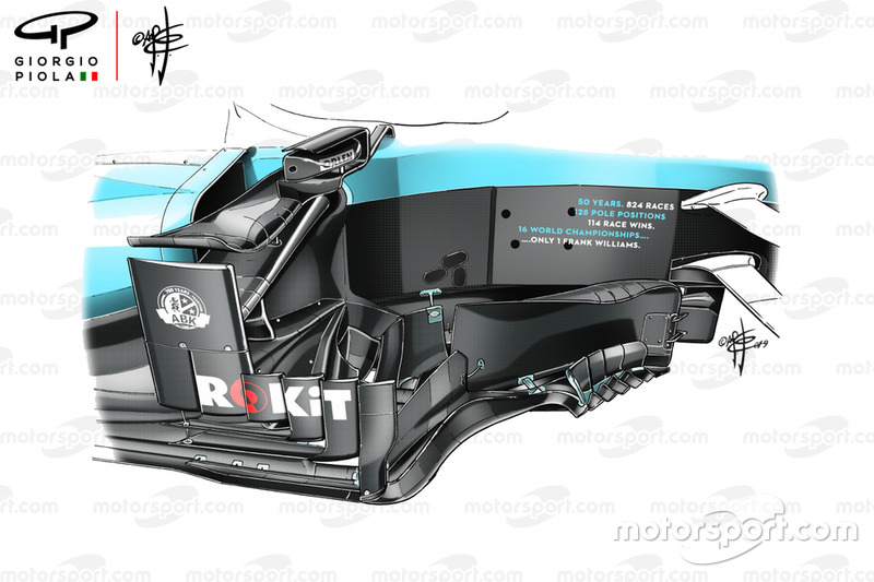 The complexity of the current Williams FW42 bargeboard