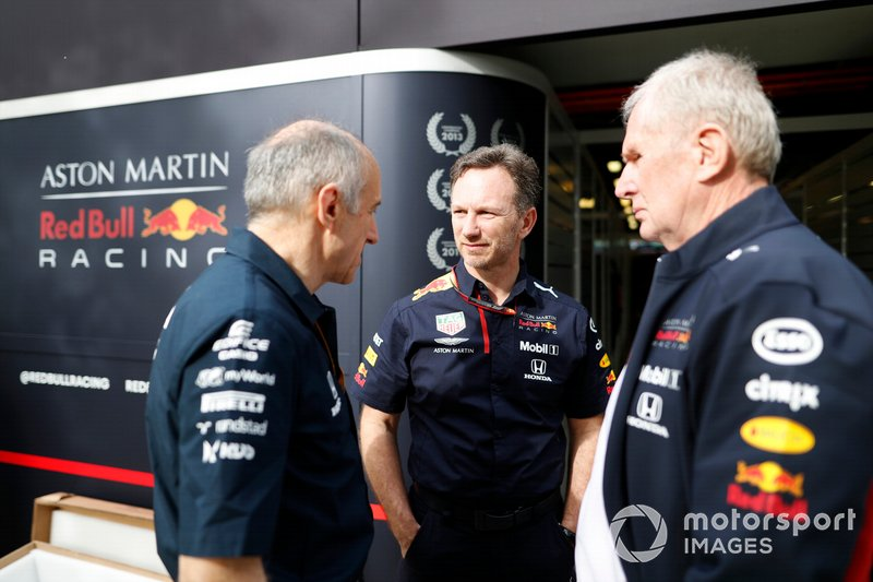 Franz Tost, Team Principal, AlphaTauri, Christian Horner, Team Principal, Red Bull Racing, and Helmut Marko, Consultant, Red Bull Racing, in the paddock