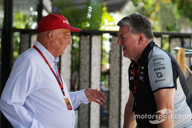 (L to R): Niki Lauda, Mercedes Non-Executive Chairman with Otmar Szafnauer, Sahara Force India F1 Chief Operating Officer