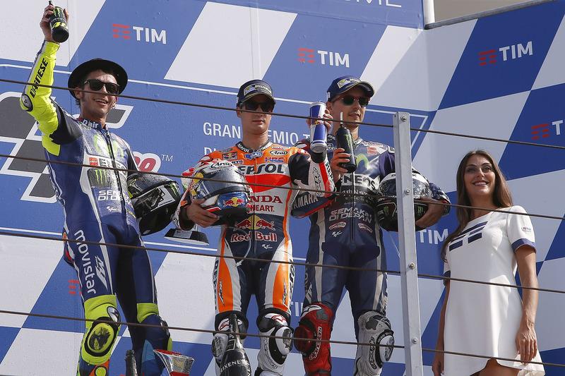 1. Dani Pedrosa, 2. Valentino Rossi, 3. Jorge Lorenzo