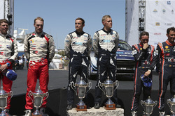 Podium: Winner Ott Tänak, Martin Järveoja, M-Sport, Ford Fiesta WRC, second place Jari-Matti Latvala, Miikka Anttila, Toyota Yaris WRC, Toyota Racing, third place Thierry Neuville, Nicolas Gilsoul, Hyundai Motorsport, Hyundai i20 Coupe WRC