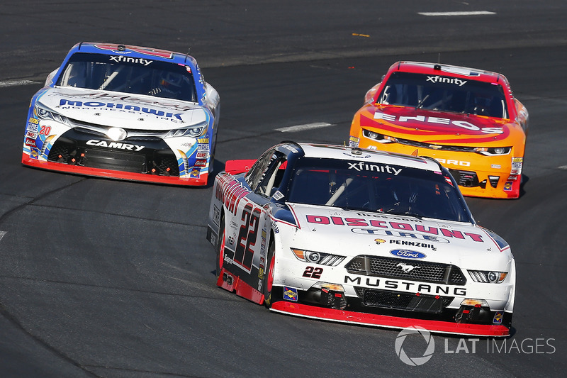 Brad Keselowski, Team Penske Ford, Kyle Larson, Chip Ganassi Racing Chevrolet and Ryan Preece, Joe Gibbs Racing Toyota