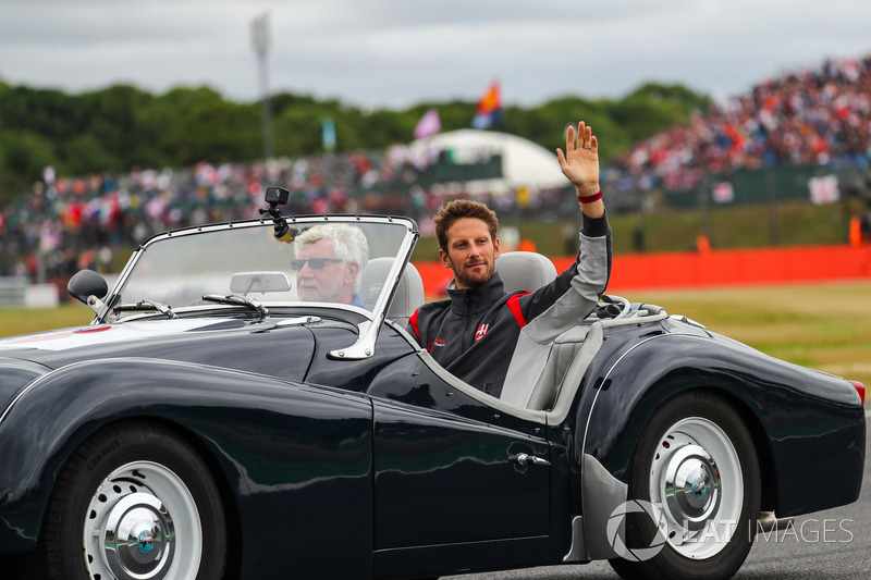 Romain Grosjean, Haas F1 en el desfile de pilotos