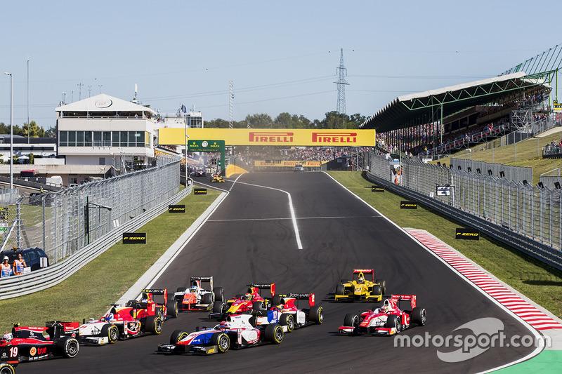 Ralph Boschung, Campos Racing, Santino Ferrucci, Trident, Charles Leclerc, PREMA Powerteam en la arrancada