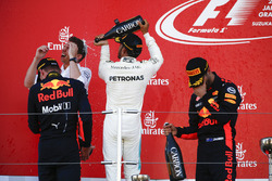Max Verstappen, Red Bull, second place, Race winner Third place Lewis Hamilton, Mercedes AMG F1 Daniel Ricciardo, Red Bull Racing, celebrate with Champagne on the podium