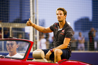 Romain Grosjean, Haas F1 Team, on the drivers' parade