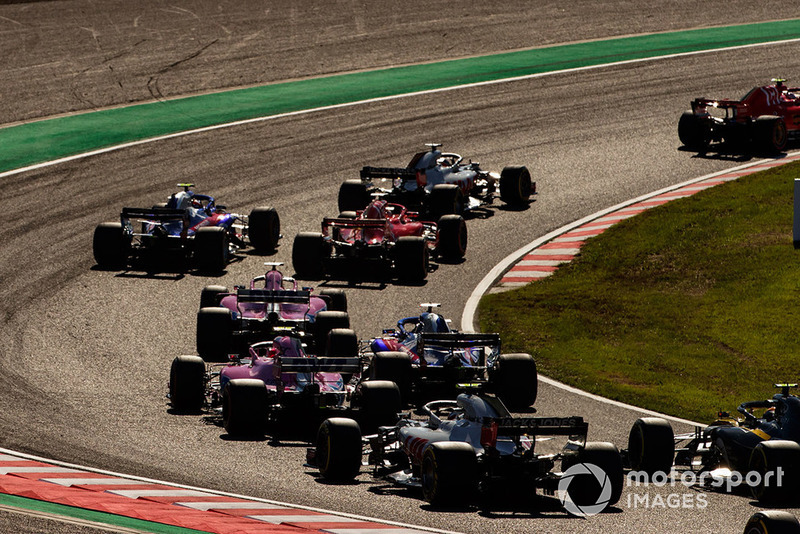 Romain Grosjean, Haas F1 Team VF-18, Pierre Gasly, Scuderia Toro Rosso STR13, Sebastian Vettel, Ferrari SF71H, Brendon Hartley, Toro Rosso STR13, Sergio Perez, Racing Point Force India VJM11, Esteban Ocon, Racing Point Force India VJM11, y Kevin Magnussen, Haas F1 Team VF-18