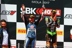 Podium: race winner Kenan Sofuoglu, Kawasaki Puccetti Racing, second place Lucas Mahias, GRT Yamaha