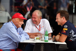 Niki Lauda, Mercedes AMG F1 Non-Executive Chairman, Dr Helmut Marko, Red Bull Racing Motorsport Consultant and Christian Horner, Red Bull Racing Team Principal