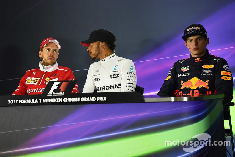 Press conference: winner Lewis Hamilton, Mercedes AMG, second place Sebastian Vettel, Ferrari, third place Max Verstappen, Red Bull Racing