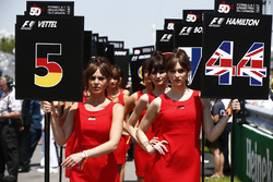 Grid girls for Sebastian Vettel, Ferrari, Lewis Hamilton, Mercedes AMG F1, ahead of the race