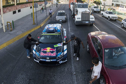Jari-Matti Latvala, Miikka Anttila, Volkswagen Polo WRC, Volkswagen Motorsport get a car wash at a s