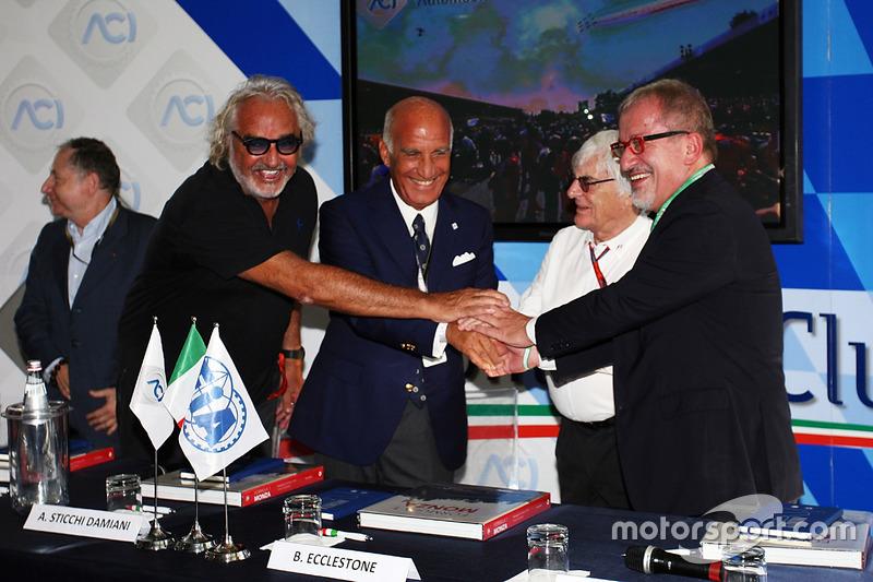 (L to R): Jean Todt, FIA President with Flavio Briatore; Dr. Angelo Sticchi Damiani, Aci Csai Presid