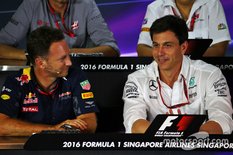 (L to R): Christian Horner, Red Bull Racing Team Principal and Toto Wolff, Mercedes AMG F1 Shareholder and Executive Director in the FIA Press Conference