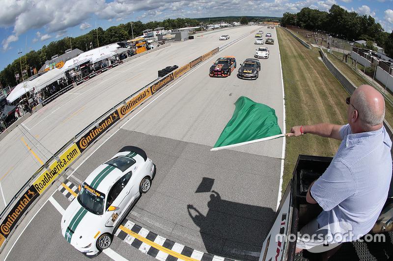 #76 Compass360 Racing Ford Shelby GT350-C: Paul Holton, Pierre Kleinubing, #33 CJ Wilson Racing Porsche Cayman GT4: Daniel Burkett, Marc Miller