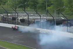 James Davison, A.J. Foyt Enterprises with Byrd / Hollinger / Belardi Chevrolet crash