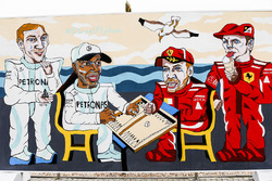 Artwork depicting Valtteri Bottas, Mercedes AMG F1, Lewis Hamilton, Mercedes AMG F1, Sebastian Vettel, Ferrari, and Kimi Raikkonen, Ferrari, playing backgammon