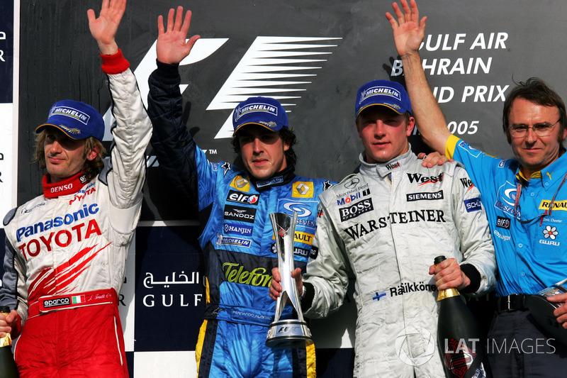 2005: 1. Fernando Alonso, 2. Jarno Trulli, 3. Kimi Räikkönen