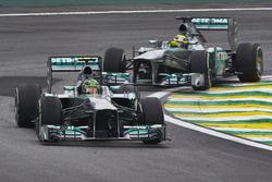 Lewis Hamilton, Mercedes W04 leads Nico Rosberg, Mercedes W04