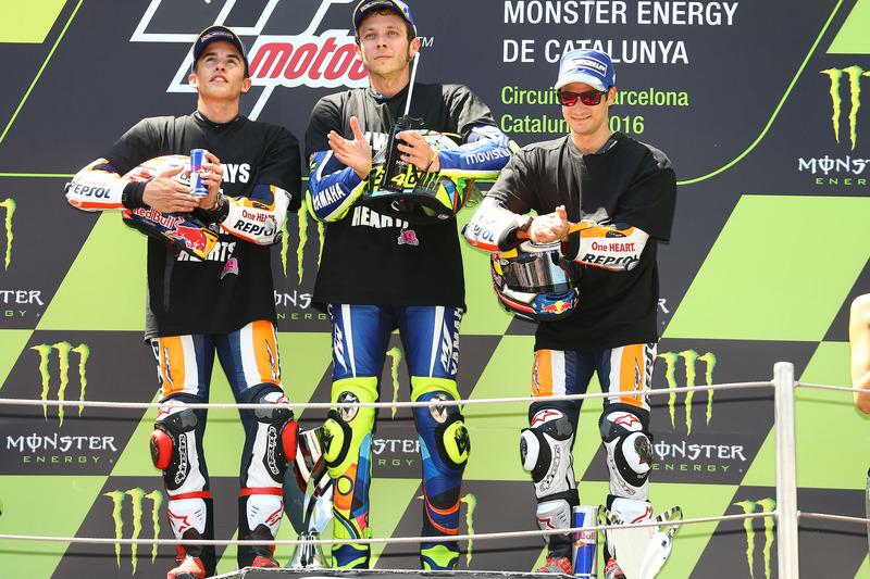Marc Marquez, Repsol Honda Team; Valentino Rossi, Yamaha Factory Racing, Dani Pedrosa, Repsol Honda