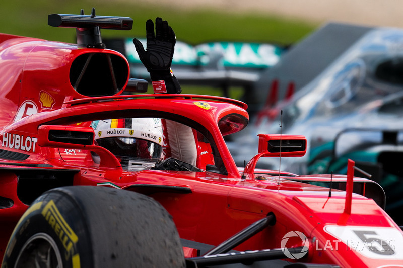 Race winner Sebastian Vettel, Ferrari SF71H celebrates