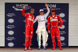 Qualifying Top 3: polesitter Valtteri Bottas, Mercedes AMG F1, second place Sebastian Vettel, Ferrar