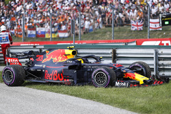 The car of Race retiree Max Verstappen, Red Bull Racing