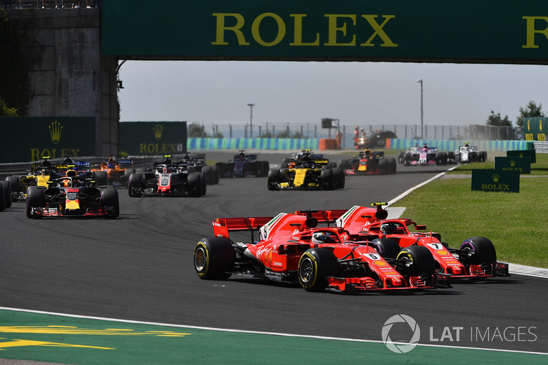 Sebastian Vettel, Ferrari SF71H dan Kimi Raikkonen, Ferrari SF71H