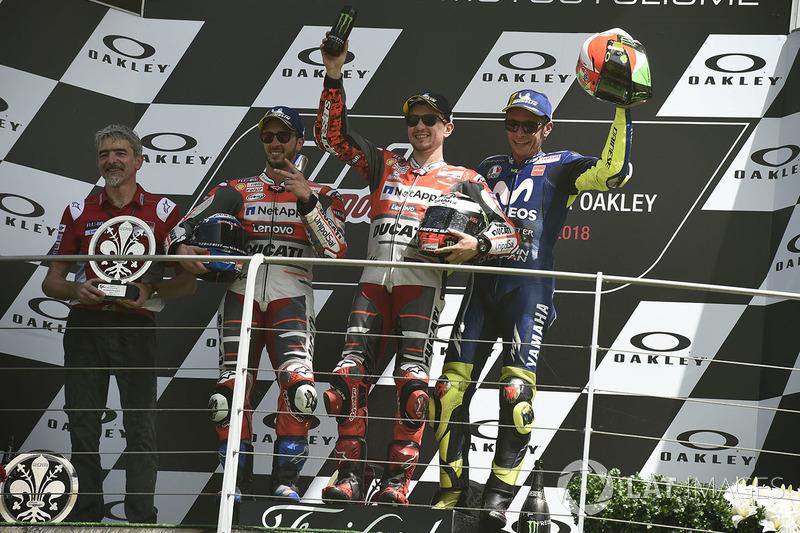 Podio: 1º Jorge Lorenzo, 2º Andrea Dovizioso, 3º Valentino Rossi