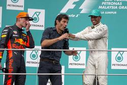 Race winner Max Verstappen, Red Bull Racing, Mark Webber, Lewis Hamilton, Mercedes AMG F1 celebrate on the podium