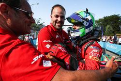 Lucas di Grassi, ABT Schaeffler Audi Sport, celebrates with his team after winning the Championship