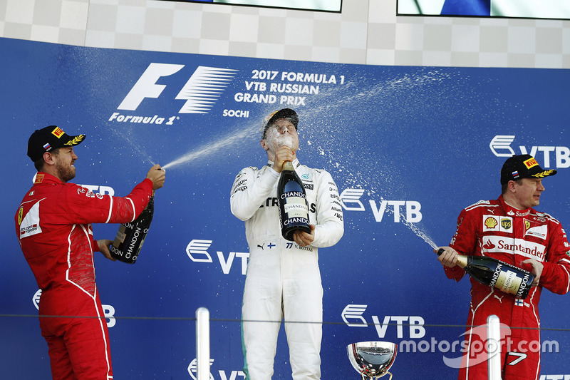 Podium: race winner Valtteri Bottas, Mercedes AMG F1, second place Sebastian Vettel, Ferrari, third place kimi Raikkonen, Ferrari