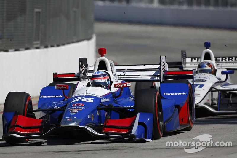 Takuma Sato, Andretti Autosport, Honda; J.R. Hildebrand, Ed Carpenter Racing, Chevrolet