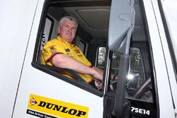 David Batrum driving the drivers parade truck
