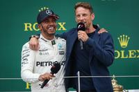 Lewis Hamilton, Mercedes AMG F1 and Jenson Button, McLaren on the podium