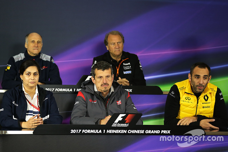 Franz Tost, Scuderia Toro Rosso Team Principal, Robert Fearnley, Force India F1 Team Deputy Team Principal, Monisha Kaltenborn, Sauber Team Principal, Guenther Steiner, Haas F1 Team Principal and Cyril Abitebou, Renault Sport F1 Managing Director in the Press Conference